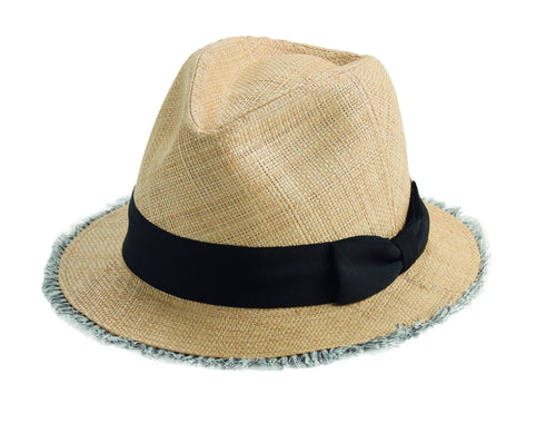 Women's Woven Raffia Fray Edge Panama Fedora With Ribbon Bow (EBH9890)