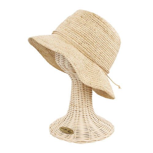 Womens Crochet Raffia Bucket (RHS3106)
