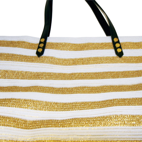 Womens Gold Stripe Poly Braid Tote (BSB1558)