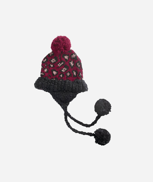 Hats - Womens Knit Leopard Beanie Trapper With Poms