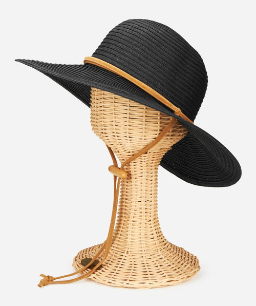 Womens Large Brim Chin Cord Paper Braid Floppy
