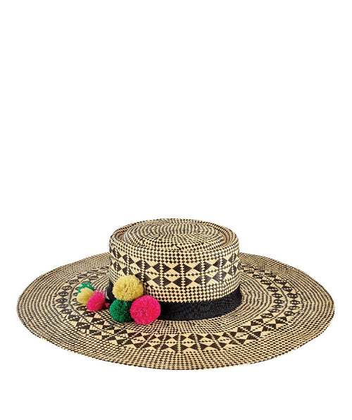 Hats - Womens Mixed Woven Paper W/ Pom Tassel Trim