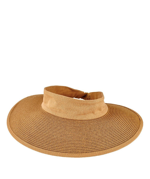 Hats - Womens Paperbraided Visor With An Elastic Backing