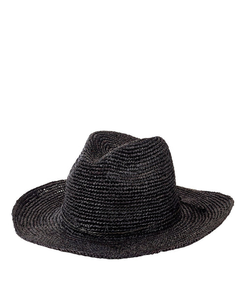 Hats - Womens Pinched Crown Fedora Crochet Raffia