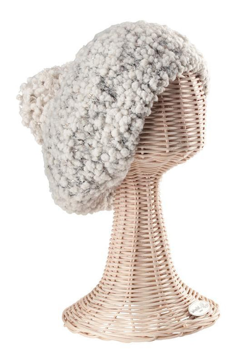 Hats - Womens Plush Textured Yarn Beret With Gold Sequins Woven Into The Yarn-Ivory-One Size