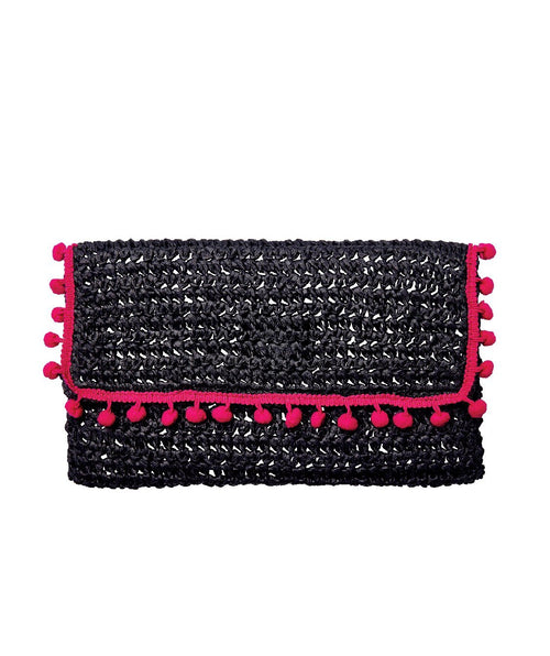 Hats - Womens Rectangular Pom Clutch