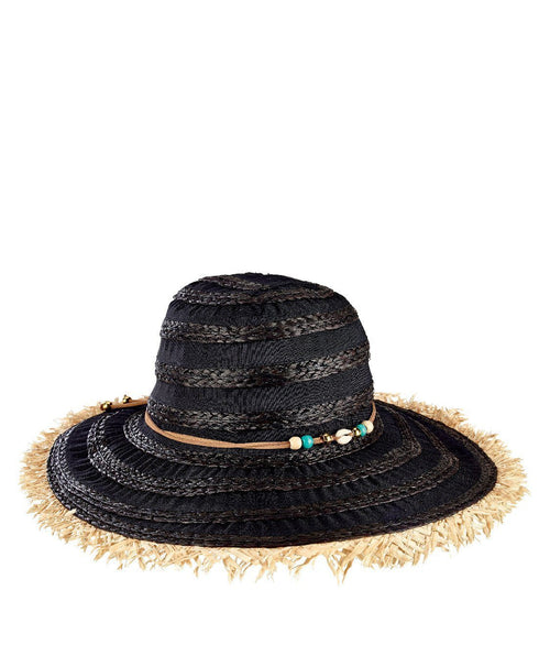 Hats - Womens Ribbon/Raffia Sunbrim W/Frayed Edge