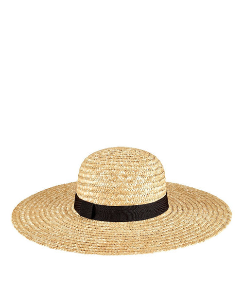 Hats - Womens Round Crown Wheat Straw Sunbrim