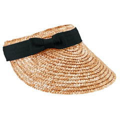 Womens Wheat Straw Visor With Bow (WSV0005)