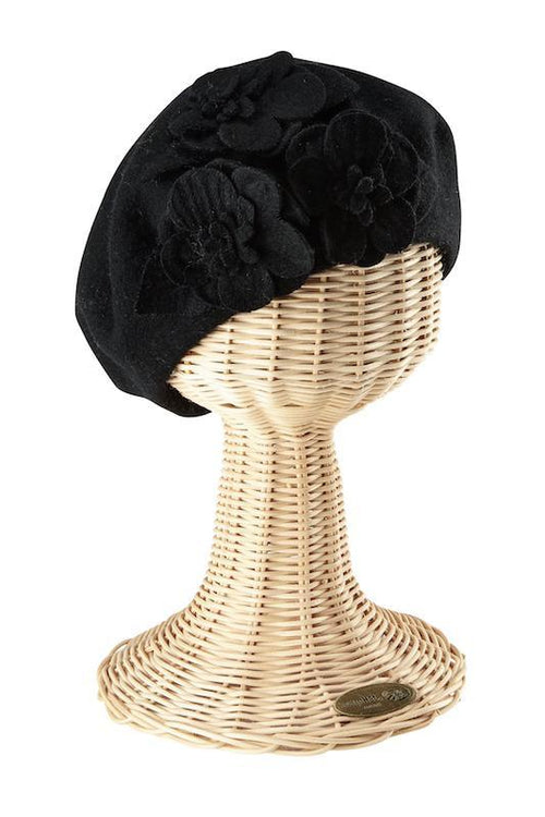 Hats - Womens Wool Beret With Flowers-Black-One Size