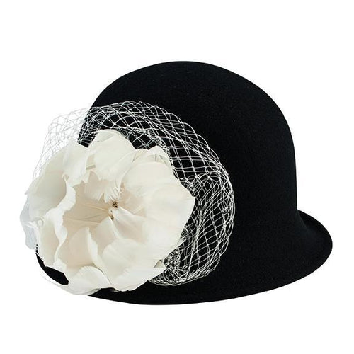 Hats - Wool Felt Cloche With Flower Trim And Jewel Detail