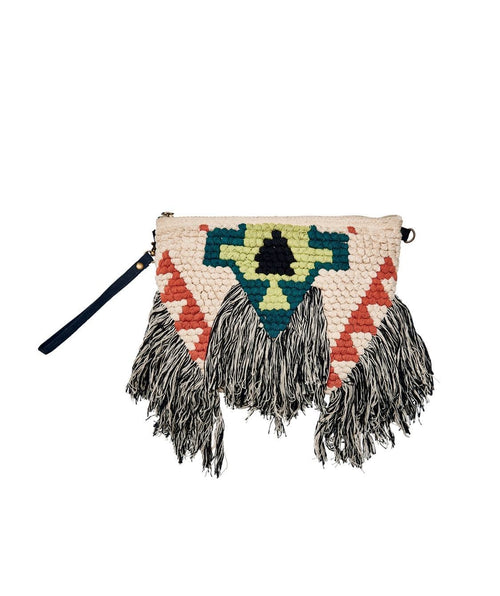 Hats - Woven Clutch With Fringe