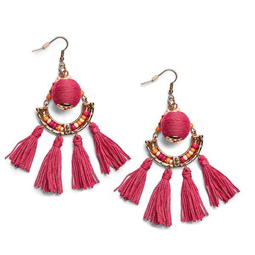 Jewelry - Bauble Drop Earrings With Fringe