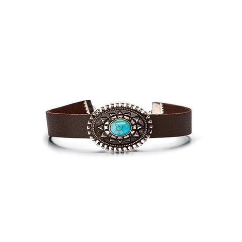 Jewelry - Faux Leather Band With Concho Turquoise Details