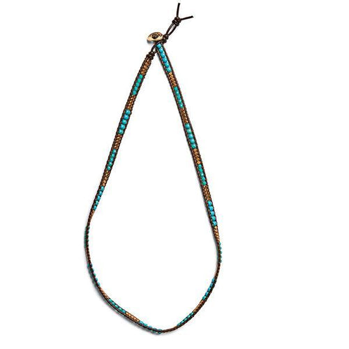 Jewelry - Leather Wraparound Turquoise Bead Necklace