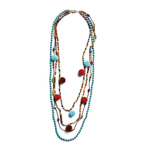 Jewelry - Multistrand Necklace With Poms
