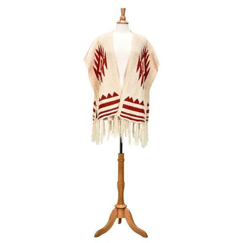 open front aztec poncho with fringe