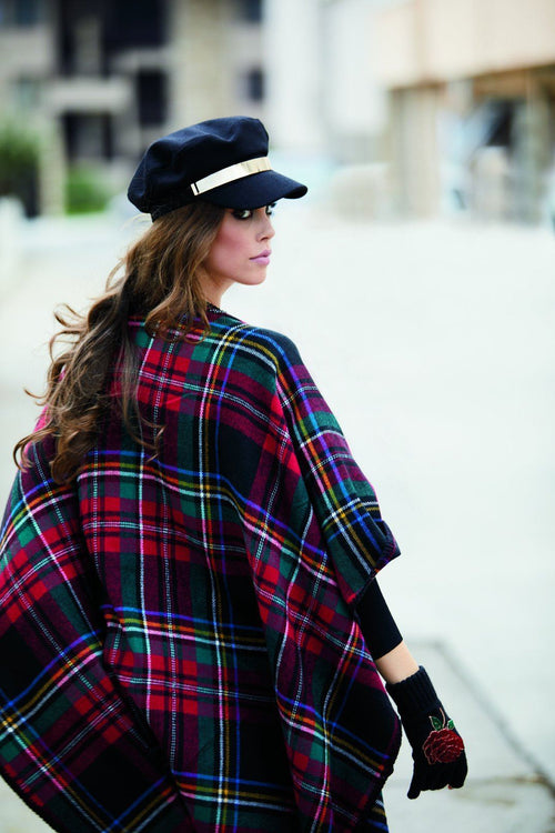 open front woven plaid poncho