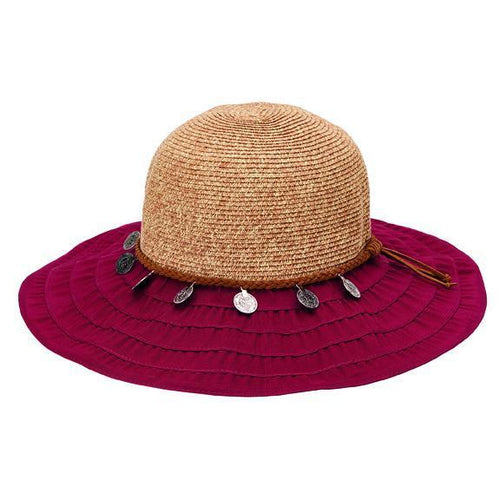 RIBBON - WOMENS RIBBON BRIM W/ RAFFIA BRAID CROWN