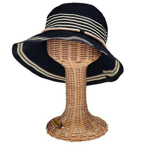 RIBBONS - WOMENS RIBBON BUCKET W/ STRIPE INSET AND ROPE TRIM