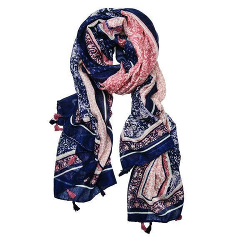 WOMENS STRIPE LIGHTWEIGHT SCARF (BSS3713)