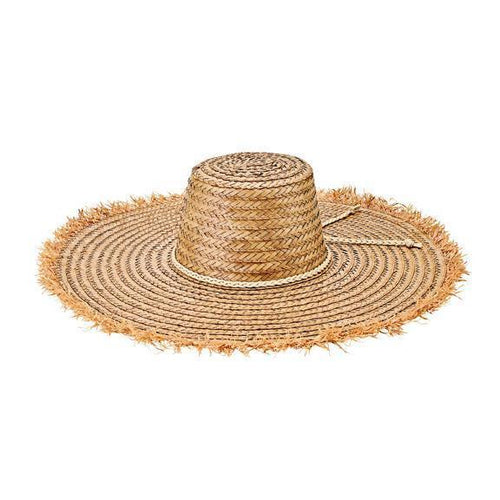 Women's palm straw hat with braided faux suede trim (WSH1217)