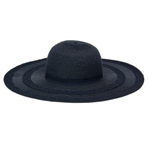 SUN BRIM - Women's Round Crown Ultra Braid With Lace Insets On Brim And Grosgrain Trim