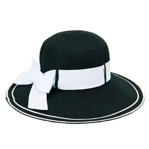 SUN BRIM - Women's Round Crown Ultrabraid Sun Brim With Back Bow Grosgrain Trim