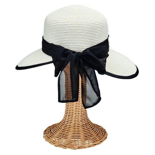 SUN BRIM - Women's Ultrabraid Round Crown Face Saver With Chiffon Scarf Tie Back