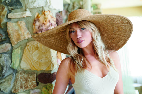 Women's wheat straw hat with oversized brim (WSH1219)