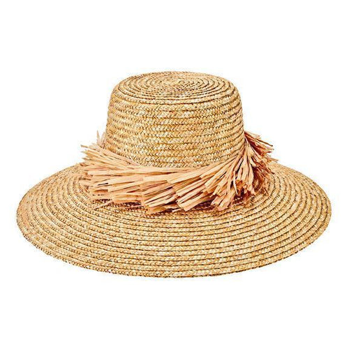 Women's wheat straw hat with raffia fray trim (WSH1205)