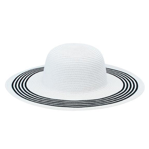 SUN BRIM - WOMENS PAPERBRAID FLOPPY W/ CONTRAST STRIPES ON BRIM