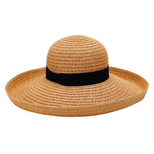 SUN BRIM - WOMENS PAPERBRAID TURN UP SUN BRIM