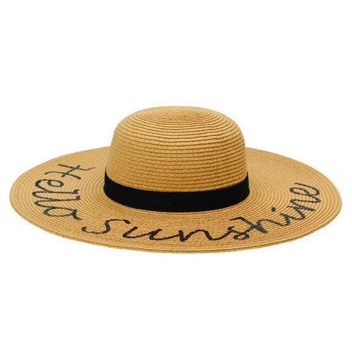 "SUN BRIM - WOMENS PAPERBRAID WITH ""HELLO SUNSHINE"" VERBIAGE"