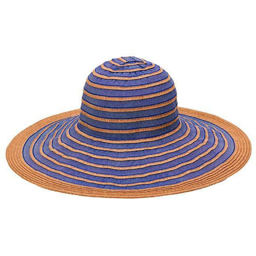 SUN BRIM - WOMENS PAPERBRAID WITH RIBBON SUN BRIM