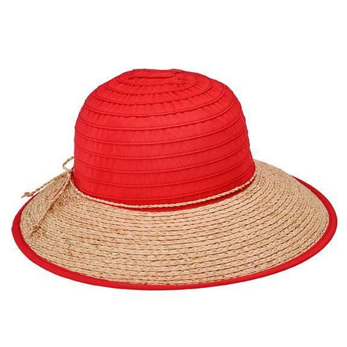 SUN BRIM - WOMENS RIBBON CROWN AND RAFFIA BRIM