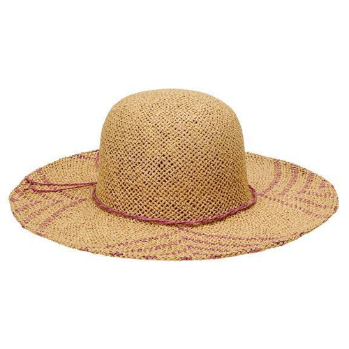 SUN BRIM - WOMENS WOVEN PAPER SUN BRIM W/ COLOR POP PATTERN