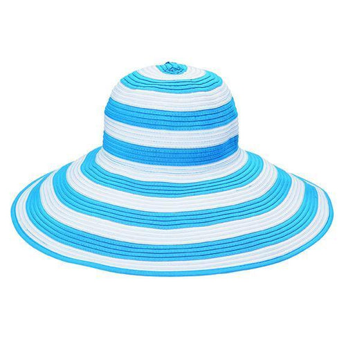 "SUN BRIMS - Women's Ribbon Sun Brim With 1"" Stripes"