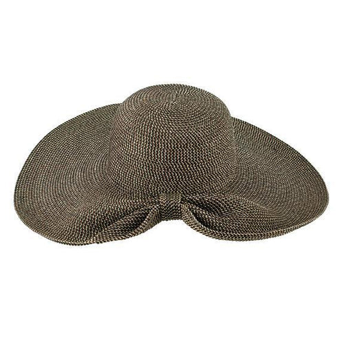 SUN BRIMS - Women's Round Crown Floppy Ultrabraid Sun Brim With Gathered Back And Knotted Wrapped Trim