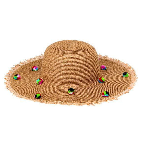 SUN BRIMS - Women's Ultrabraid Round Crown Sunbrim With Multi Color Poms And Frayed Raffia Brim Edge
