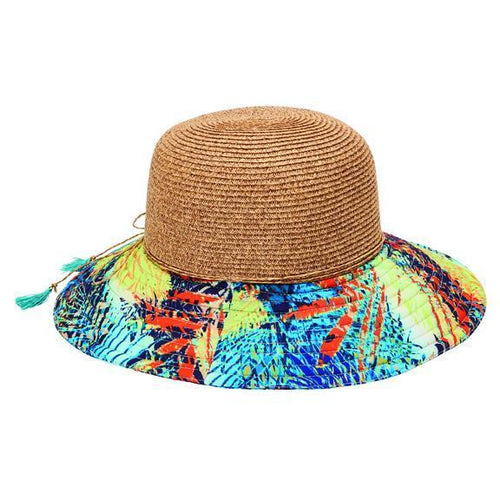 SUN BRIMS - Women's Ultrabraid Round Crown Sunbrim With Novelty Print Brim, Double Strand Tie Back Trim And Pop Color Tassels