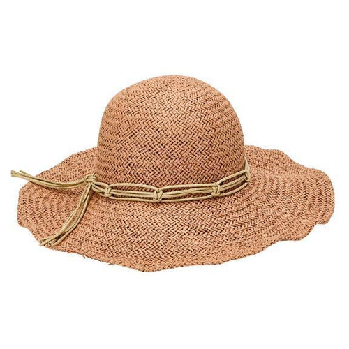 SUN BRIMS - WOMENS WOVEN PAPER FLOPPY W/ MACRAME TRIM