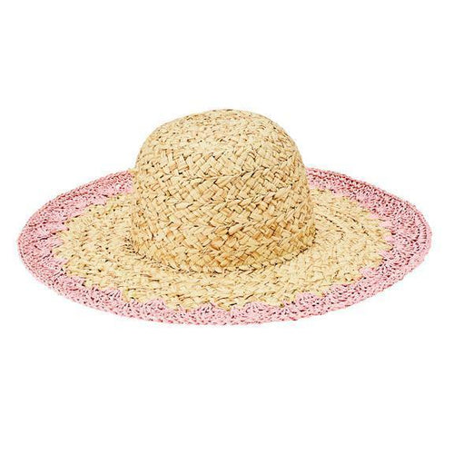 Women's paper straw hat with crotchet brim (PBL3203)