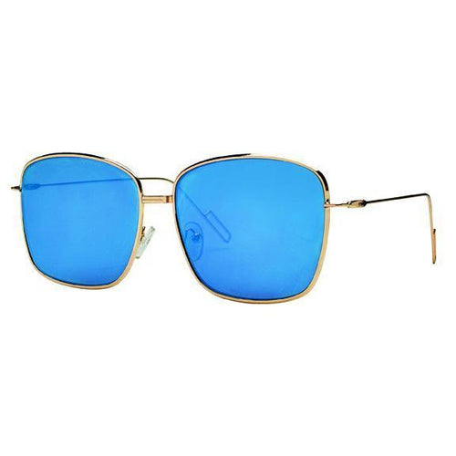 Sunglasses - Metal Frame With Square Lens And Mirror Lens Sunglasses