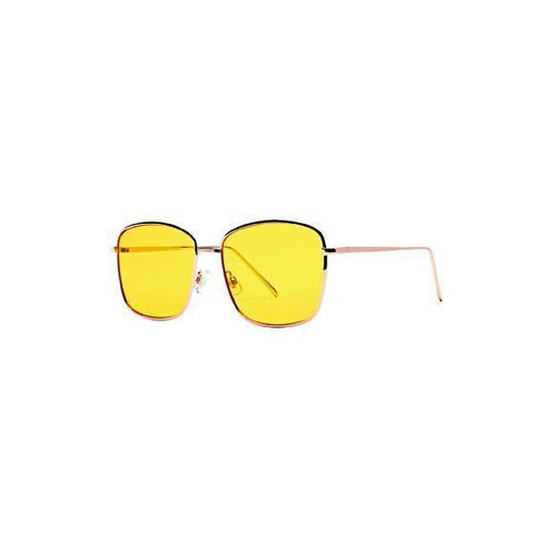 WOMENS METAL SQUARE FRAME WITH YELLOW TINT (BSG1058)