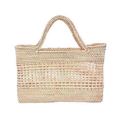 WOMENS CROCHET PALM STRAW TOTE (BSB1749)