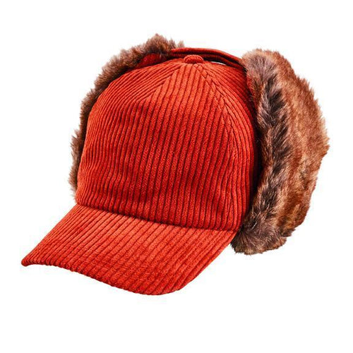 wide wale corduroy ball cap trapper with adjustable faux fur sides