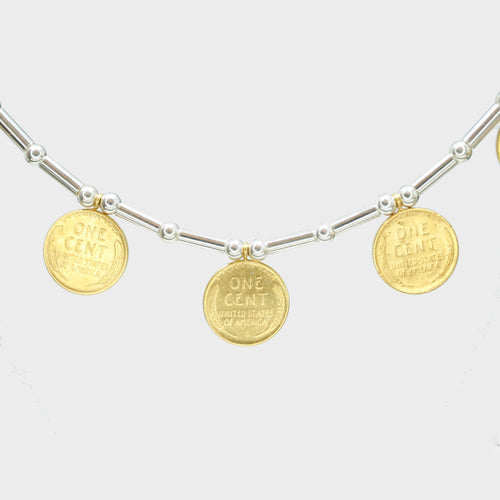 Golden Wheat Penny Amulet Necklace