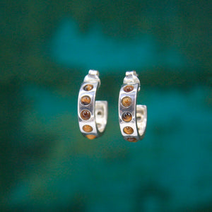Silver Helios Hoops with Tiger's Eye