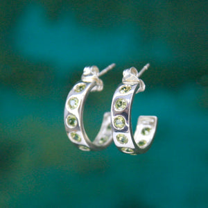 Silver Helios Hoops with Peridots